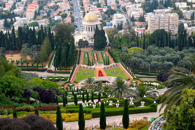 """Haifa's lush landscape, temperate climate and situation on the Mediterranean has earned it the nickname """"San Francisco"""" of Israel. Here the Baha'i Temple overlooks the German Colony and the port."""