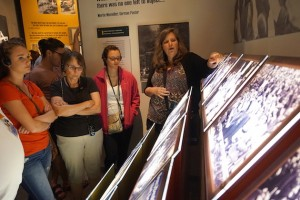 The Yad Vashem tour guide explains how the Holocaust began slowly, creeping into every day life and slowly bleeding away the rights of seven million Jews.