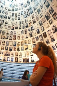 Emma gazes up at just a few of the faces of the millions lost in the Holocaust. The museum is perhaps the most somber, and important, place to visit in the Holy land.