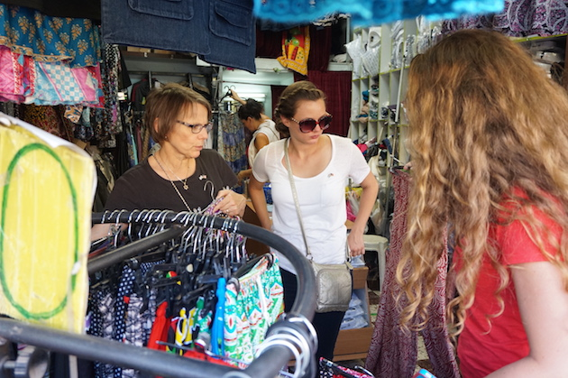 """A visit to the Old City isn't complete with out checking out the """"Shuk""""--the ancient market that still mesmerizes visitors today. Anita, Hannah and Emma spent time looking for the perfect dress or lounging pants."""