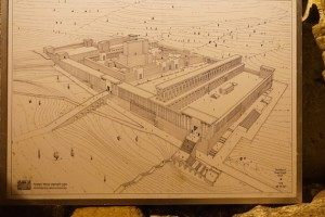 A diagram showing the Second Temple before the Romans destroyed it in 70 A.D. Today you can see the Temple building blocks where they landed as Romans pushed them from the wall above.
