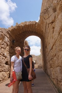 Hannah and Emma enter the Caesarean amphitheater. It's one of the ancient Roman city's most impressive sites.