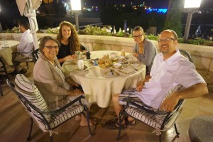 A late-night dinner on the veranda of the King David Hotel, which holds a central position in the history of the modern-day founding of the Jewish nation.