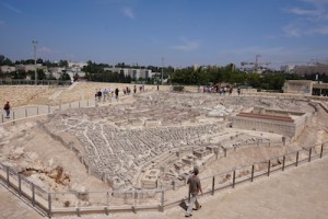 A scale model of Jerusalem from the Second Temple period sits outside the Shrine of the Book where the Dead Sea Scrolls are visible.