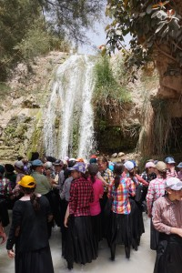 These are some of the waterfalls that David would have bathed in while on the run fro King Saul. Here, young orthodox Jewish students take a dip in the water.